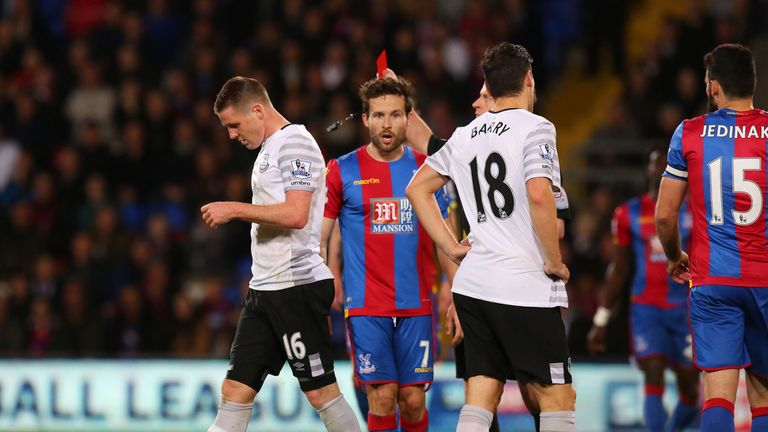 Everton's James McCarthy (left) is sent off