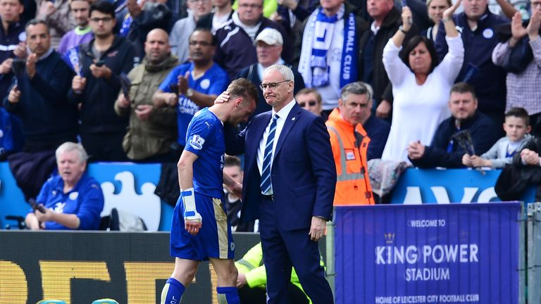 Vardy walks off following his red card