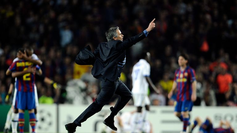 Jose Mourinho celebrates after winning the UEFA Champions League semi-final second leg match between Barcelona vs Inter Milan in 2010 at the Nou Camp