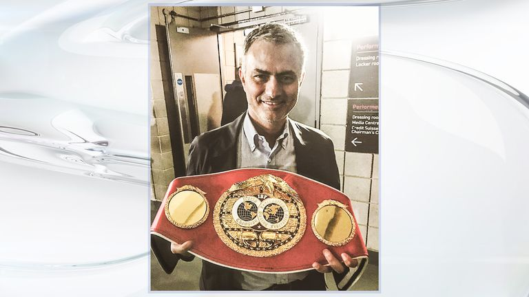 Mourinho poses with Anthony Joshua's IBF world heavyweight belt