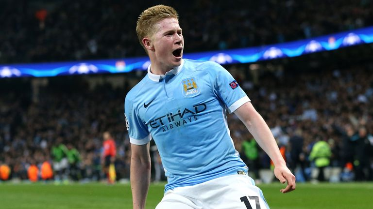 Manchester City's Kevin De Bruyne celebrates scoring against PSG in the Champions League QF second leg