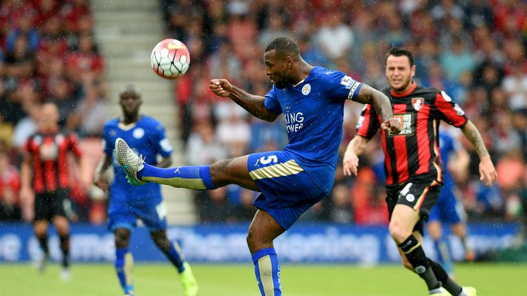 Wes Morgan of Leicester City controls the ball during the Barclays Premier League match between A.F.C. Bournemouth