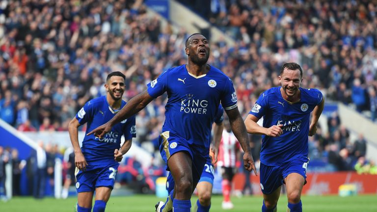 Wes Morgan celebrates giving Leicester the lead