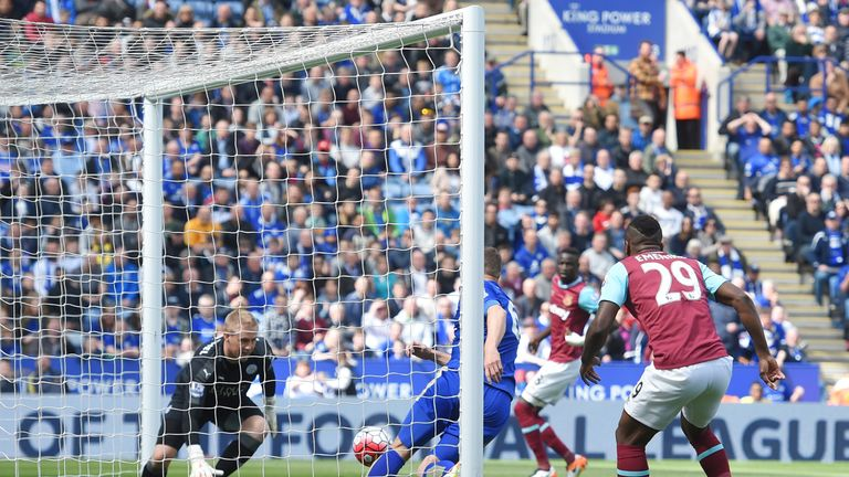 Leicester's Kasper Schmeichel makes a save from West Ham's Cheikhou Kouyate