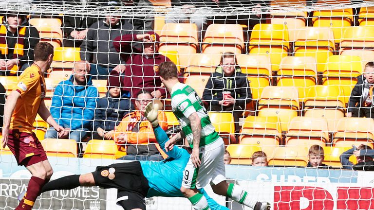Leigh Griffiths scores his first goal in Celtic's 2-1 win at Motherwell