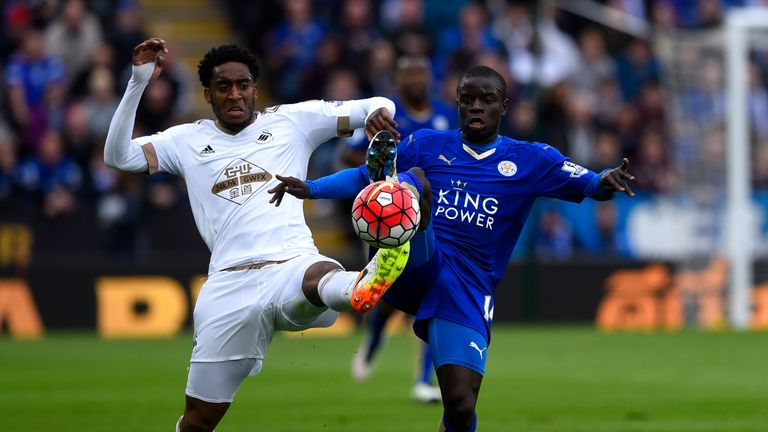 N'Golo Kante in action with Swansea's Leroy Fer
