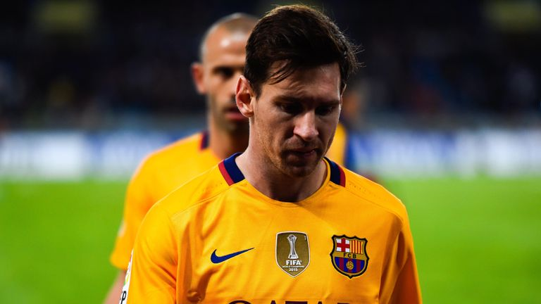 Lionel Messi looks dejected at full-time