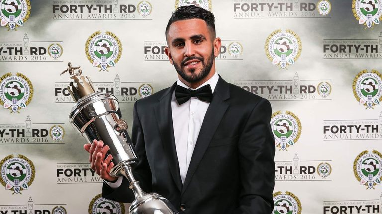 Leicester City's Riyad Mahrez wins the PFA Player of the Year award
