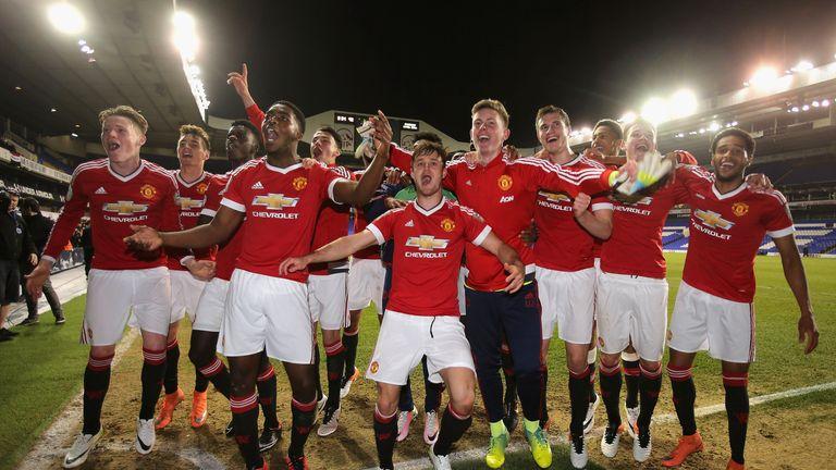 Manchester United U21s squad celebrate title success
