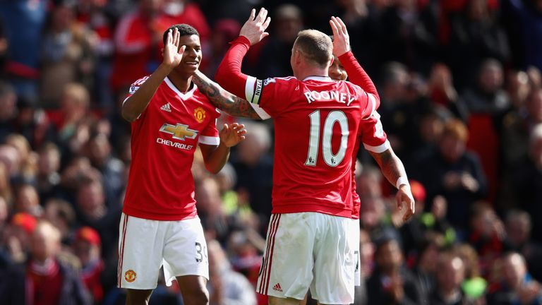 Marcus Rashford and Wayne Rooney celebrate Manchester United's winner