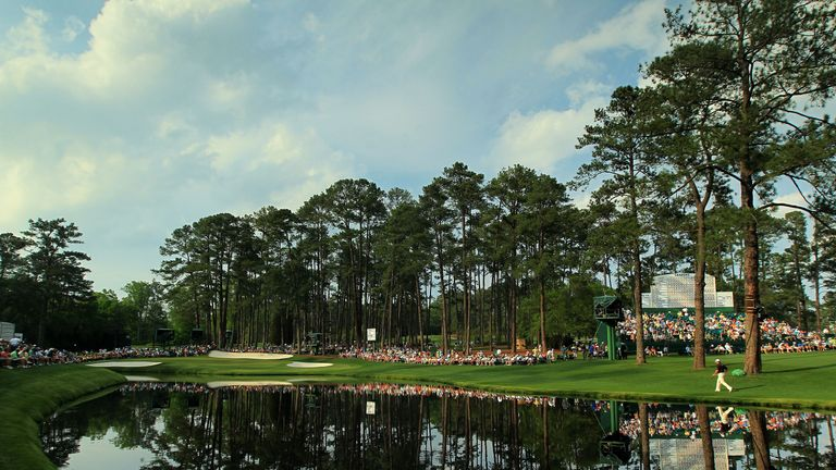 A general view of the play at the 16th hole during the second round of the 2011 Masters Tournament at Augusta National Golf Club