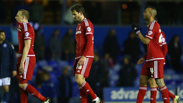 BIRMINGHAM, ENGLAND - APRIL 29: Grant Leadbitter (L) Cristian Stuani (C) and Daniel Ayala (R) of Middlesbrough after their sides 2-2 draw during the Sky Be