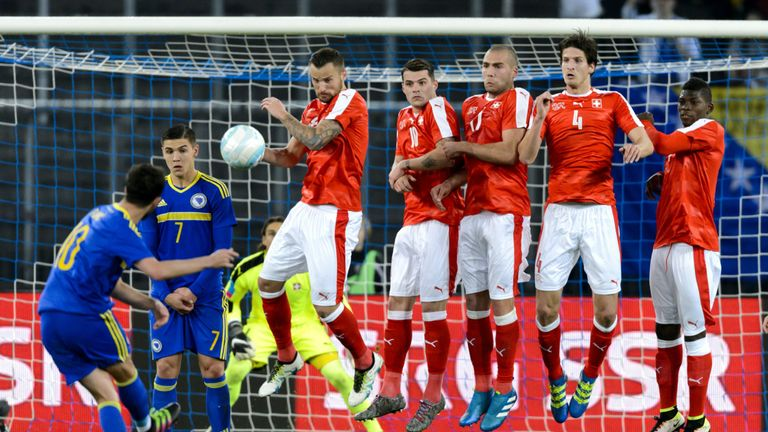 Pjanic scoring a free-kick for Bosnia against Switzerland in March