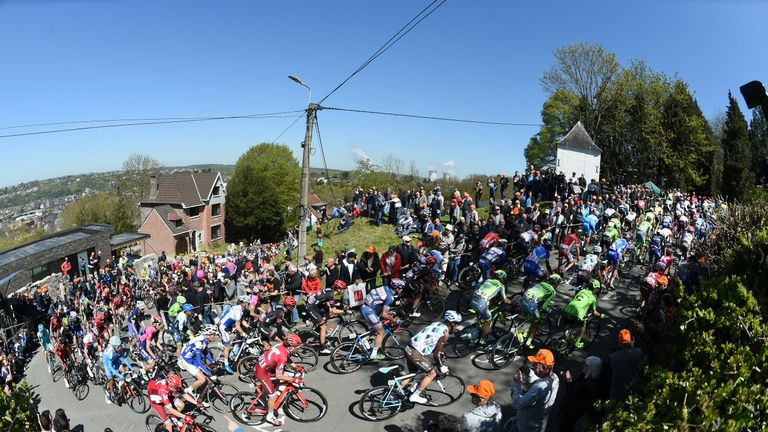 The peloton makes its way up the steep slopes of the Mur de Huy