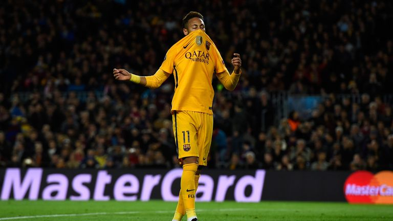 Neymar of Barcelona reacts after missing a chance