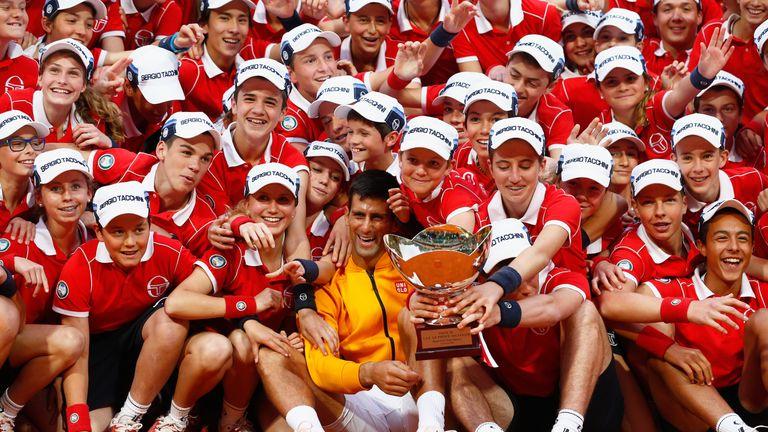 Novak Djokovic celebrates his 2015 Monte Carlo win