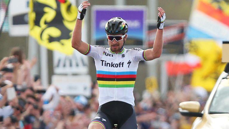Sagan celebrates winning the Tour of Flanders this year