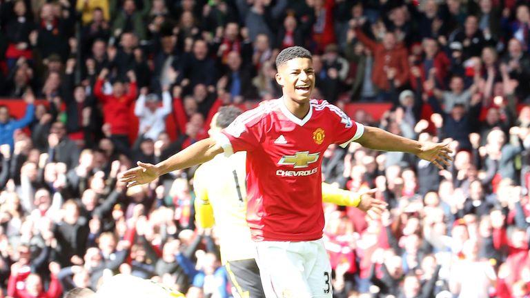 Manchester United's Marcus Rashford opens the scoring against Aston Villa