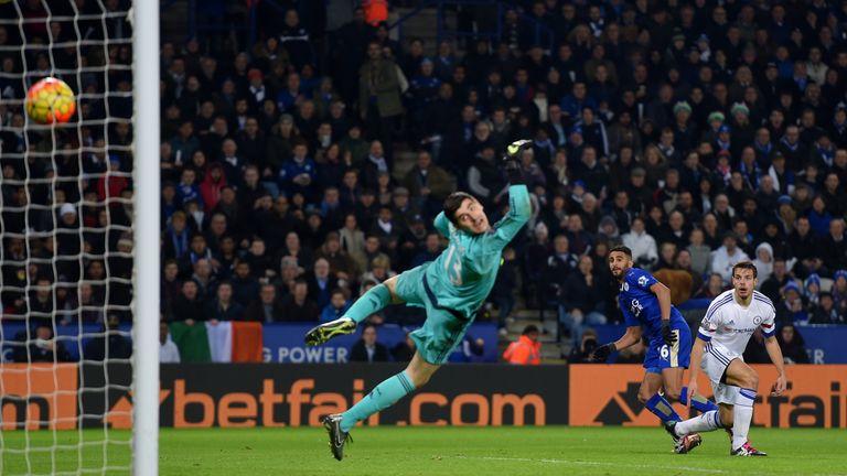 Riyad Mahrez of Leicester City scores his team's second goal