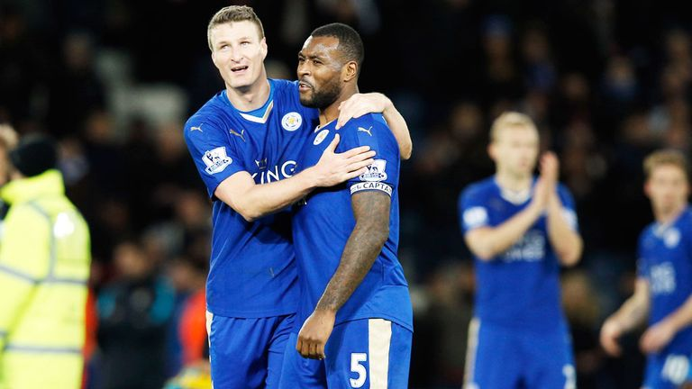 Leicester defenders Robert Huth (l) and Wes Morgan