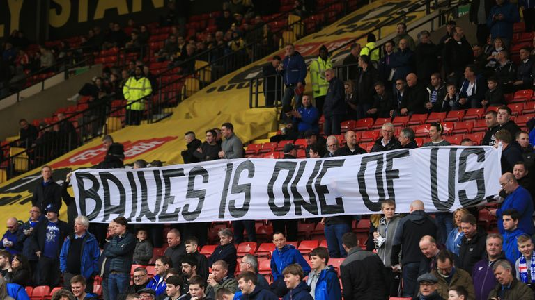 Baines received the backing of Everton's away support at Watford