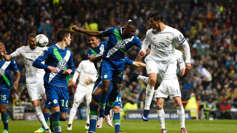 Ronaldo glances a header into the back of the net to make it 2-0 on Tuesday night