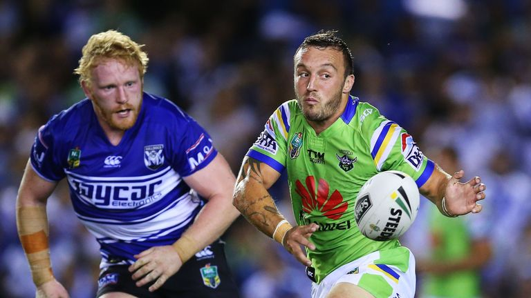 Josh Hodgson is closed down by England team-mate James Graham during the Raiders' win at Belmore