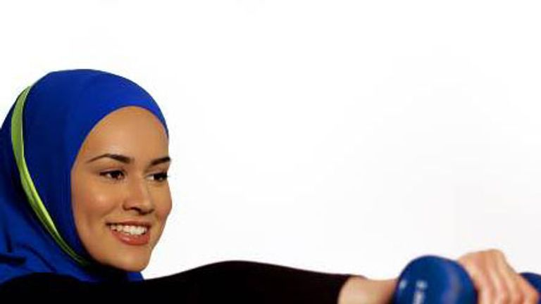 Begum has designed a range of sports hijabs (photo: Bahareh Hosseini)