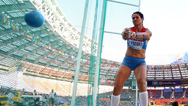 Tatyana Lysenko of Russia competes in the women's hammer final at the 2013 World Athletics Championships