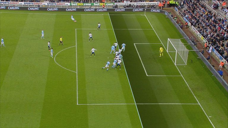 Replays showed Sergio Aguero was offside before he scored Manchester City's opener against Newcastle