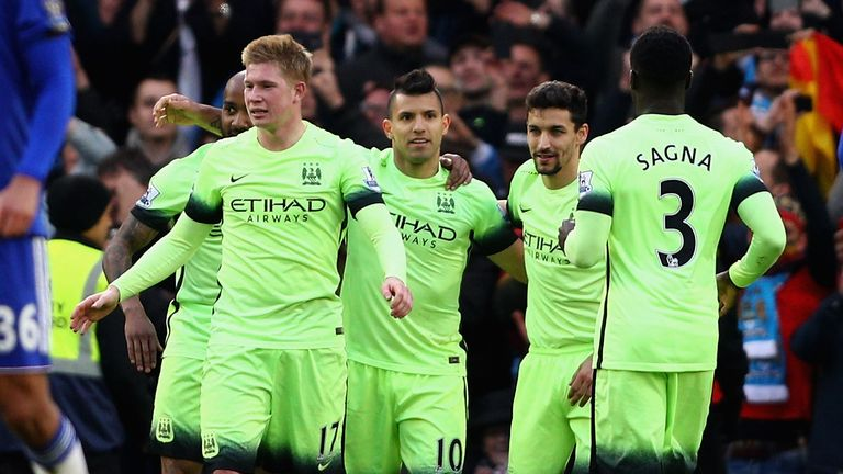 Sergio Aguero celebrates after sealing his hat-trick from the penalty spot