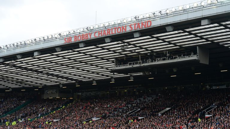 The newly renamed Sir Bobby Charlton Stand at Old Trafford
