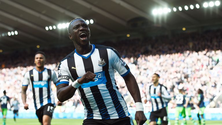 Moussa Sissoko celebrates scoring Newcastle's second goal