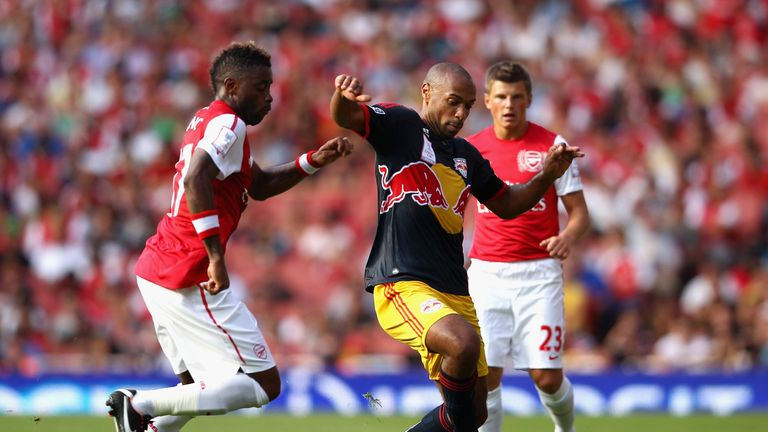 Thierry Henry playing for New York Red Bulls against Arsenal in the Emirates Cup