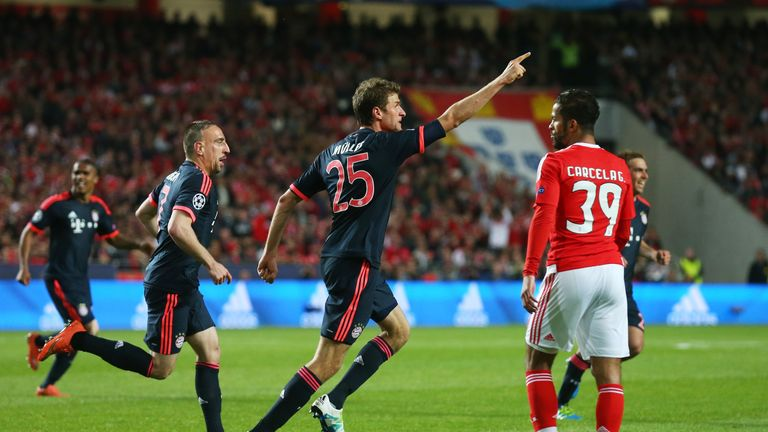 Thomas Muller celebrates scoring Bayern Munich's second goal