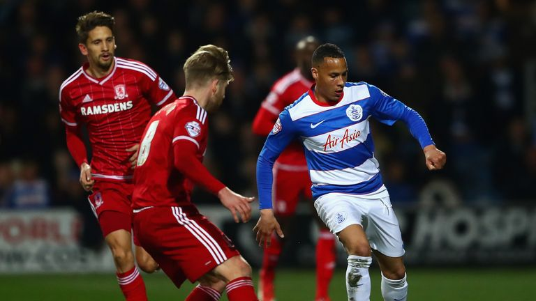 Tjaronn Chery of Queens Park Rangers takes on Adam Clayton of Middlesbrough