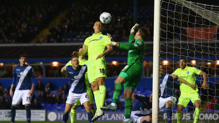 Steve Sidwell of Brighton has a point-blank header saved by Birmingham goalkeeper Tomasz Kuszczak