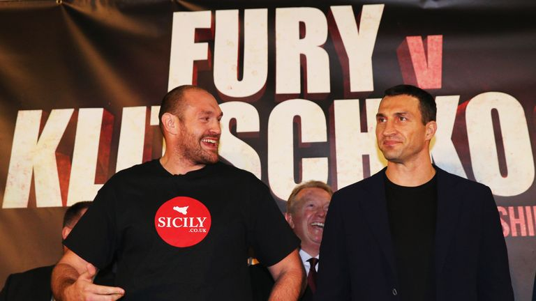 Tyson Fury and Wladimir Klitschko at the press conference
