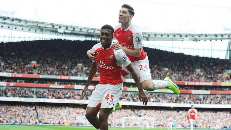 Alex Iwobi celebrates scoring the 2nd Arsenal goal against Watford