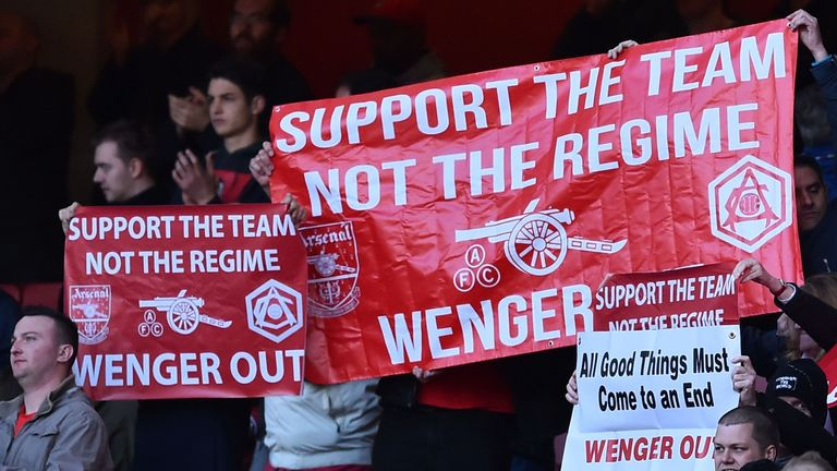 "Arsenal fans held up banners calling for ""Wenger Out"" during their match against Norwich"