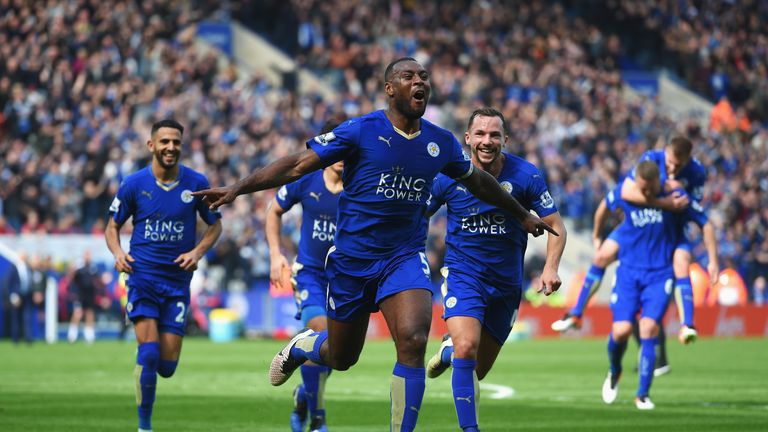 Wes Morgan celebrates with team-mates after opening the scoring against Southampton