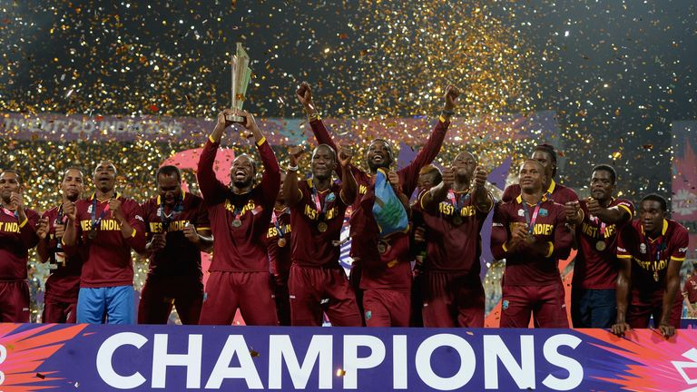 West Indies celebrate after beating England to win the World T20