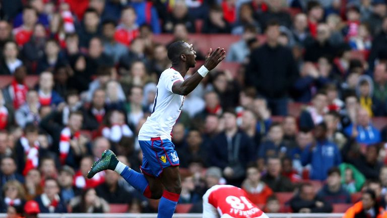Yannick Bolasie of Crystal Palace celebrates after scoring his team's first goal