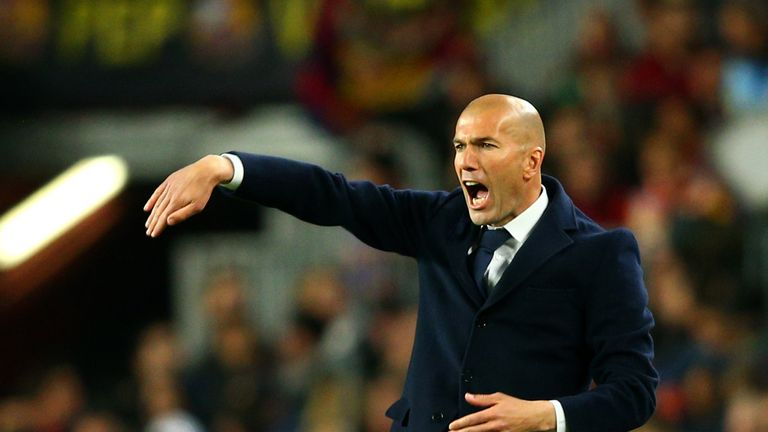 Zinedine Zidane, Head Coach of Real Madrid CF reacts on the touchline during the La Liga match between FC Barcelona and Real Madrid CF
