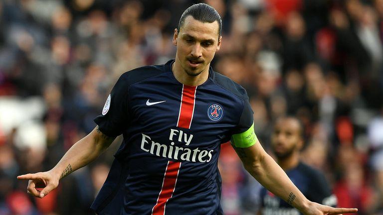 Paris Saint-Germain's Swedish forward Zlatan Ibrahimovic celebrates after scoring