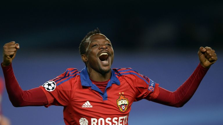 CSKA Moscow's Nigerian forward Ahmed Musa celebrates a goal during the UEFA Champions League group B football match between CSKA Moscow and PSV Eindhoven