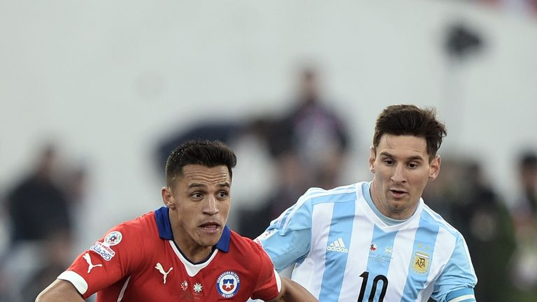 Former Barca team-mates Sanchez and Messi have a fierce rivalry on the international stage