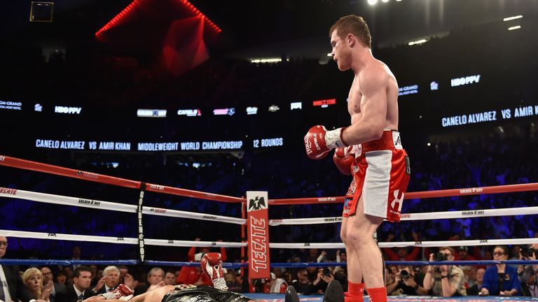 Amir Khan is knocked out by Saul Alvarez in the sixth round