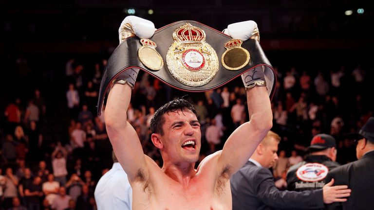 Anthony Crolla celebrates beating Ismael Barroso in the WBA World Lightweight Title bout at the Manchester Arena