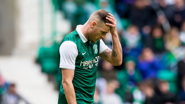 Hibs striker Anthony Stokes looks dejected at final whistle
